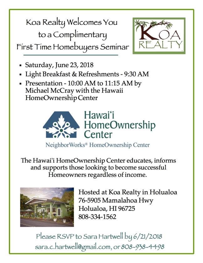 New Home Buyer Open House Koa 2